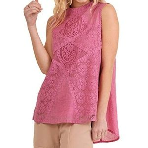 NWT Umgee Pink Sleevess Top with Lace Front